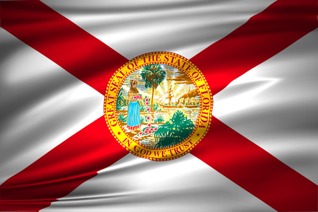 Florida 3D waving flag illustration. Texture can be used as background.