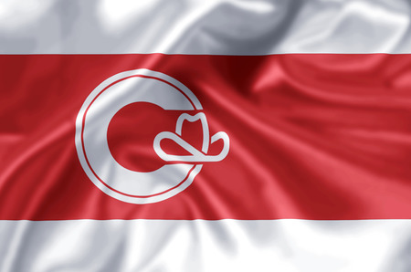 Calgary  Alberta waving and closeup flag illustration. Perfect for background or texture purposes.