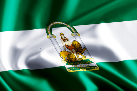 Andalucia 3D waving and closeup flag illustration with reflections. Usable for background and texture.