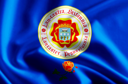Lancaster Pennsylvania 3D waving and closeup flag illustration with reflections. Usable for background and texture. Stock Photo