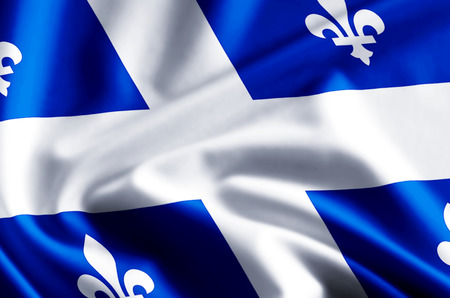 Quebec 3D waving and closeup flag illustration with reflections. Usable for background and texture. Stock Photo