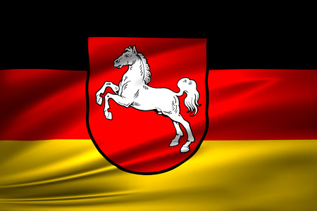 Lower Saxony  3D waving flag illustration. Texture can be used as background. Standard-Bild - 110552644