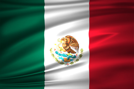 Mexico 3D waving flag illustration. Texture can be used as background.