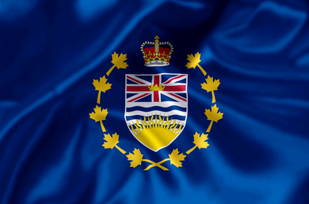 Lieutenant-Governor Of British Columbia waving and closeup flag illustration. Perfect for background or texture purposes.