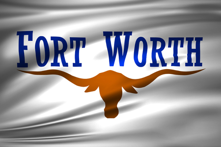 Fort Worth Texas 3D waving flag illustration. Texture can be used as background. Stock Photo