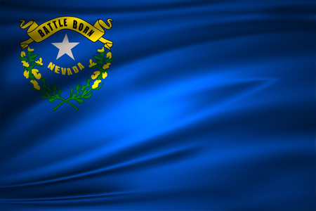 Nevada 3D waving flag illustration. Texture can be used as background.