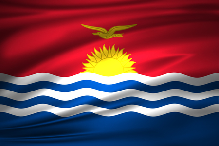 Kiribati 3D waving flag illustration. Texture can be used as background.