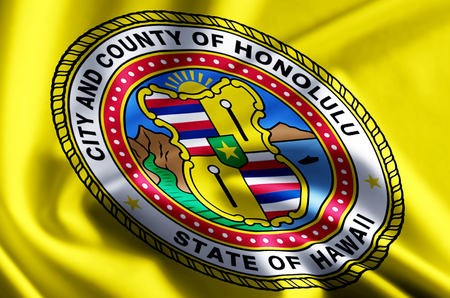 Honolulu Hawaii 3D waving and closeup flag illustration with reflections. Usable for background and texture.