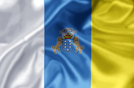 Canary Islands waving and closeup flag illustration. Perfect for background or texture purposes.