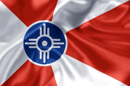 Wichita Kansas waving and closeup flag illustration. Perfect for background or texture purposes.