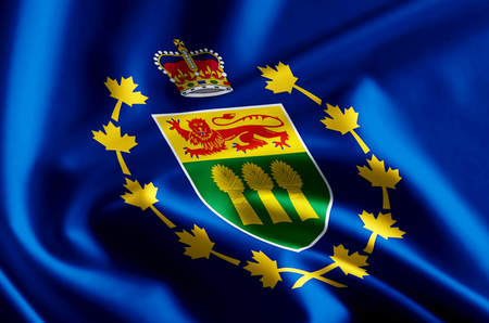 Lieutenant-Governor Of Saskatchewan 3D waving and closeup flag illustration with reflections. Usable for background and texture. Stock fotó