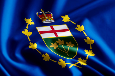 Lieutenant-Governor Of Ontario 3D waving and closeup flag illustration with reflections. Usable for background and texture.