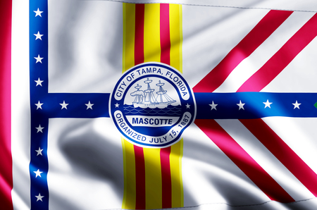 Tampa Florida 3D waving and closeup flag illustration with reflections. Usable for background and texture.