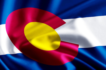 Colorado 3D waving and closeup flag illustration with reflections. Usable for background and texture.