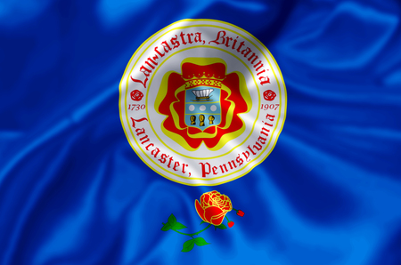 Lancaster Pennsylvania waving and closeup flag illustration. Perfect for background or texture purposes. Stock Photo