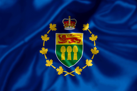 Lieutenant-Governor Of Saskatchewan waving and closeup flag illustration. Perfect for background or texture purposes.