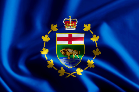 Lieutenant-Governor Of Manitoba 3D waving and closeup flag illustration with reflections. Usable for background and texture.
