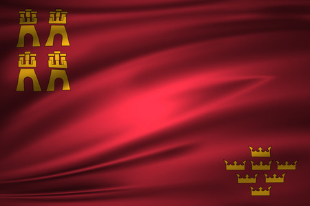 Murcia 3D waving flag illustration. Texture can be used as background.