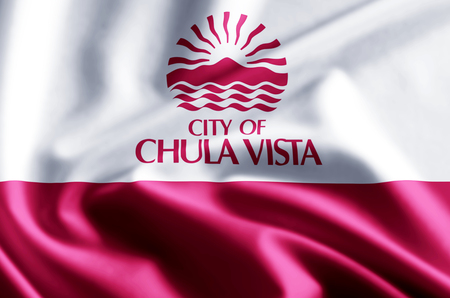 Chula Vista California 3D waving and closeup flag illustration with reflections. Usable for background and texture. Stock fotó