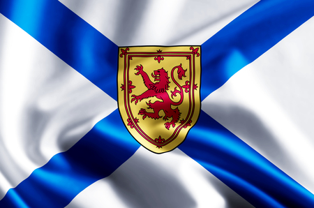 Nova Scotia 3D waving and closeup flag illustration with reflections. Usable for background and texture.