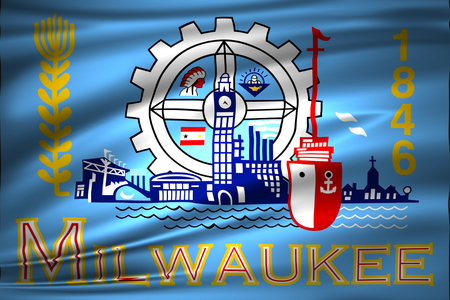 Milwaukee Wisconsin 3D waving flag illustration. Texture can be used as background.