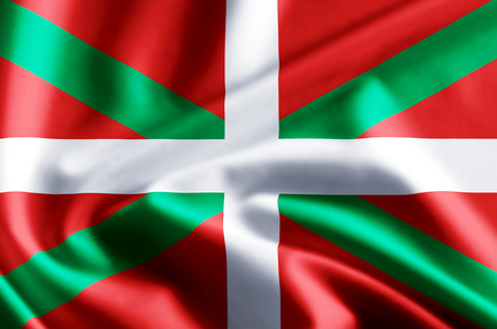 Basque Country 3D waving and closeup flag illustration with reflections. Usable for background and texture. Stock Photo