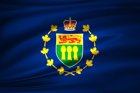 Lieutenant-Governor Of Saskatchewan 3D waving flag illustration. Texture can be used as background.