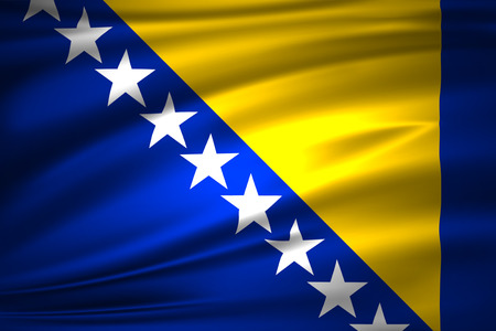 Bosnia 3D waving flag illustration. Texture can be used as background.