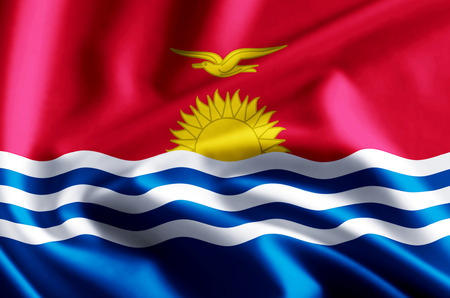 Kiribati 3D waving and closeup flag illustration with reflections. Usable for background and texture. Stock Photo