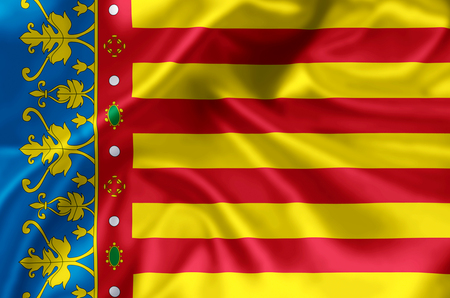 Valencia waving and closeup flag illustration. Perfect for background or texture purposes.