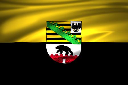 Saxony-Anhalt  3D waving flag illustration. Texture can be used as background. Standard-Bild - 110547591
