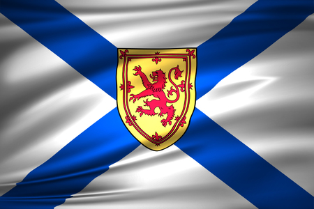 Nova Scotia 3D waving flag illustration. Texture can be used as background. Stock Photo