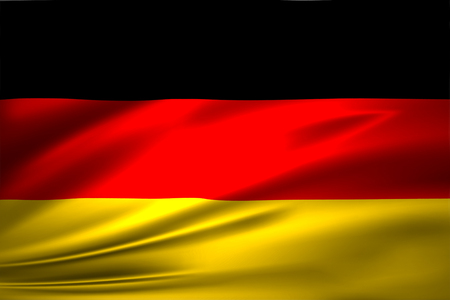 Germany 3D waving flag illustration. Texture can be used as background. Stock Photo