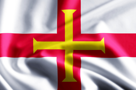 Guernsey 3D waving and closeup flag illustration with reflections. Usable for background and texture.