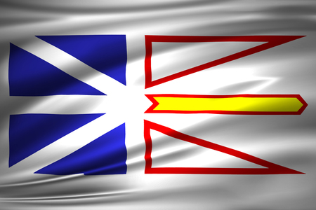 Newfoundland And Labrador 3D waving flag illustration. Texture can be used as background. Banque d'images - 110548371