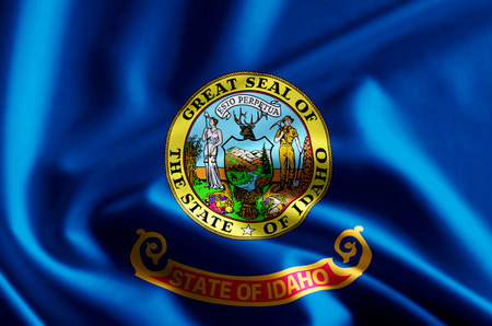 Idaho 3D waving and closeup flag illustration with reflections. Usable for background and texture.