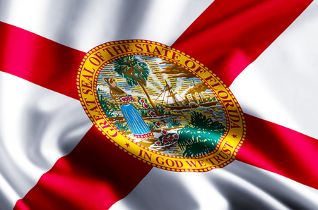 Florida 3D waving and closeup flag illustration with reflections. Usable for background and texture.