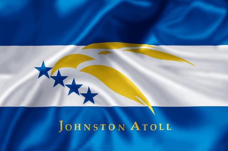Johnston Atoll waving and closeup flag illustration. Perfect for background or texture purposes. Stockfoto