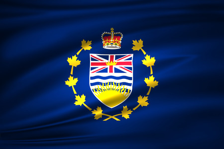 Lieutenant-Governor Of British Columbia 3D waving flag illustration. Texture can be used as background. Stock fotó