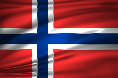 Norway 3D waving flag illustration. Texture can be used as background. Stock Photo