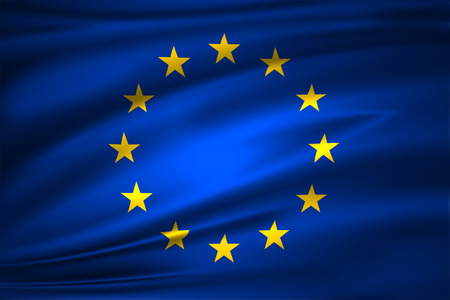 Europe 3D waving flag illustration. Texture can be used as background.