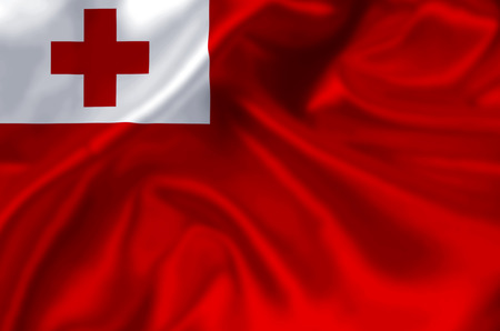 Tonga waving and closeup flag illustration. Perfect for background or texture purposes. Stock Photo