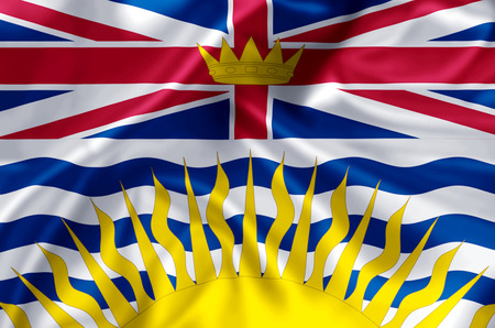 British Columbia waving and closeup flag illustration. Perfect for background or texture purposes. 스톡 콘텐츠
