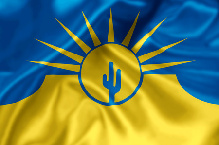 Mesa Arizona waving and closeup flag illustration. Perfect for background or texture purposes.