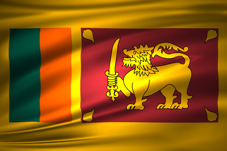 Sri Lanka 3D waving flag illustration. Texture can be used as background. Stock Photo