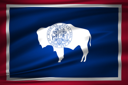 Wyoming 3D waving flag illustration. Texture can be used as background.