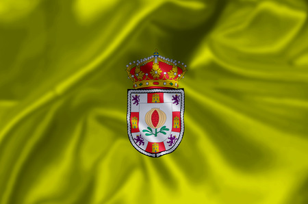 Granada waving and closeup flag illustration. Perfect for background or texture purposes. 写真素材