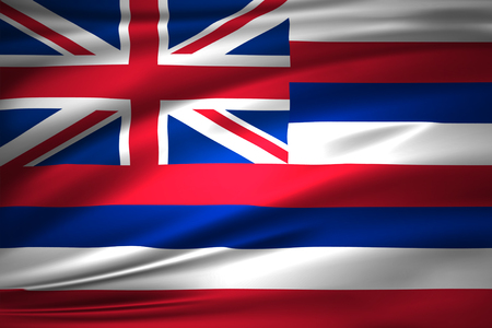 Hawaii 3D waving flag illustration. Texture can be used as background.