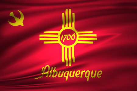 Albuquerque New Mexico 3D waving flag illustration. Texture can be used as background. Stock Photo