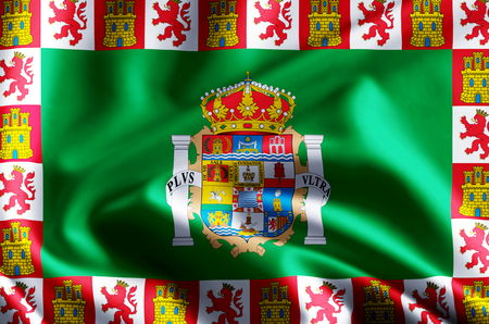 Cadiz 3D waving and closeup flag illustration with reflections. Usable for background and texture.